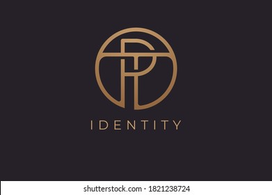 Abstract initial letter T and P logo,usable for branding and business logos, Flat Logo Design Template, vector illustration