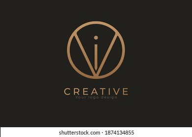 Abstract initial letter I and V logo, usable for branding and business logos, Flat Logo Design Template, vector illustration