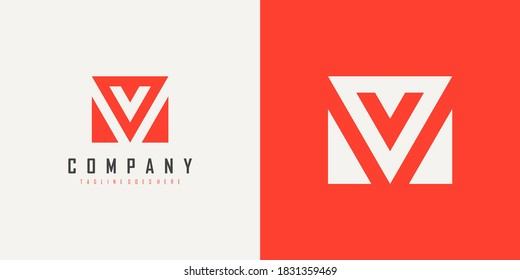 Abstract Initial Letter V and M Linked Logo. Red Geometric Shape Style isolated on Double Background. Usable for Business and Branding Logos. Flat Vector Logo Design Template Element.