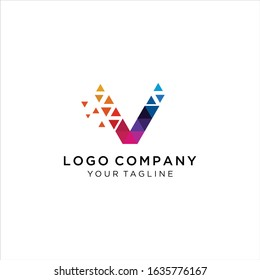 Abstract Initial Letter V  Technology logo icon vector design concept. letter v colorful