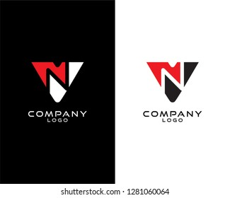 Abstract Initial letter vn/nv company logo design template. vector logo for company