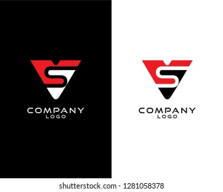 Abstract Initial letter vs/sv company logo design template. vector logo for company