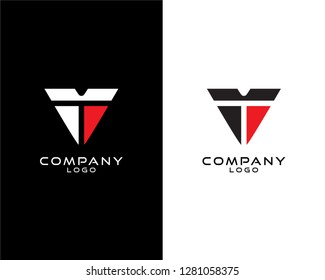 Abstract Initial letter vt/tv company logo design template. vector logo for company