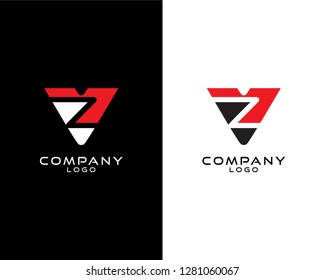 Abstract Initial letter vz/zv company logo design template. vector logo for company