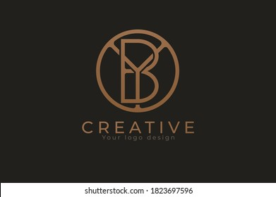 Abstract initial letter Y and B logo,usable for branding and business logos, Flat Logo Design Template, vector illustration