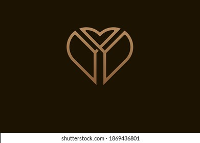 Abstract initial letter Y and Y logo, gold colour line style heart and letter combination, usable for brand, card and invitation, logo design template element,vector illustration