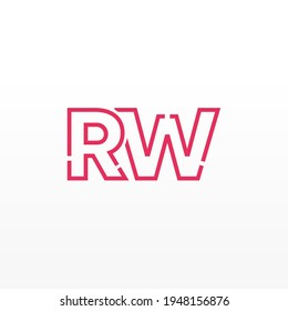 Abstract Initial Letters RW Logo. Line Style isolated. Usable for Business and Technology Logos. Flat Vector Logo Design Template Element.