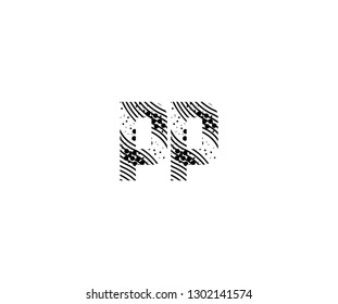 Abstract Initial PP Letter with Wavy Dots Pattern Vector Logo