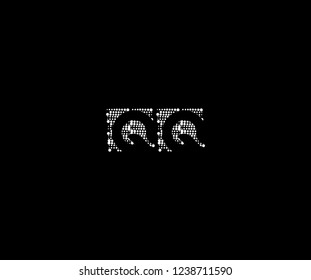 Abstract Initial QQ Letter Silhouette Square Dots Logotype