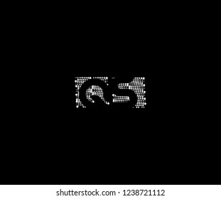 Abstract Initial QS Letter Silhouette Square Dots Logotype