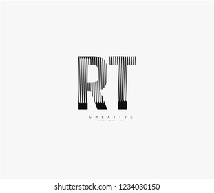 abstract initial RT letter geometric zebra stripes lines logotype