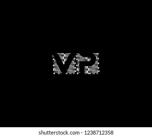 Abstract Initial VP Letter Silhouette Square Dots Logotype