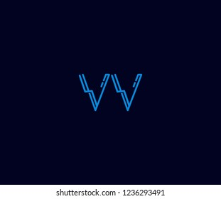 Abstract Initial VV Letter with Flat Linear Neon Style Retro Logotype