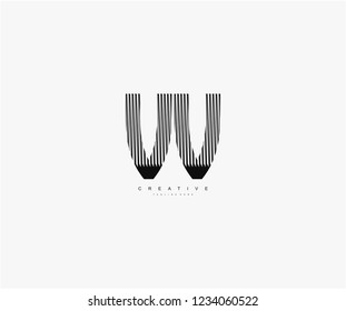 abstract initial VV letter geometric zebra stripes lines logotype