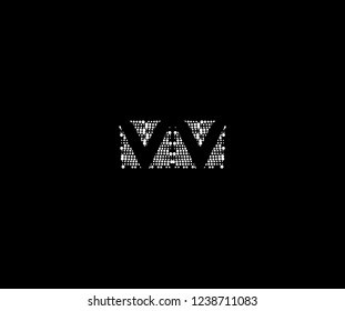 Abstract Initial VV Letter Silhouette Square Dots Logotype