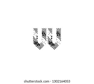 Abstract Initial VV Letter with Wavy Dots Pattern Vector Logo