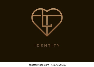 Abstract initials L and T logo, gold colour line style heart and letter combination, usable for brand, card and invitation, logo design template element,vector illustration