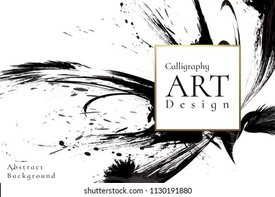 Abstract ink background. Chinese calligraphy art style, Black paint stroke texture on white paper. for poster, card, banner, book, cover, brochure and web design. Grunge mud art. vector elements.