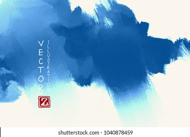 Abstract ink background. Japanese style. Blue, sky, white ink in water. Vector illustration.