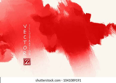 Abstract ink background. Japanese style. Red, blood, white ink in water. Vector illustration