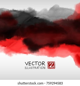 Abstract ink background. Japanese style. Black red white ink in water. Vector illustration.
