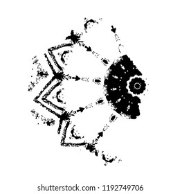 Abstract Ink Blot. Grunge Black Brush Sample. Dark Paint Stroke Texture Isolated On White. Vector Overlay Element Smear Of Paint