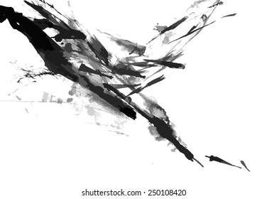 Abstract ink paint vector background on white