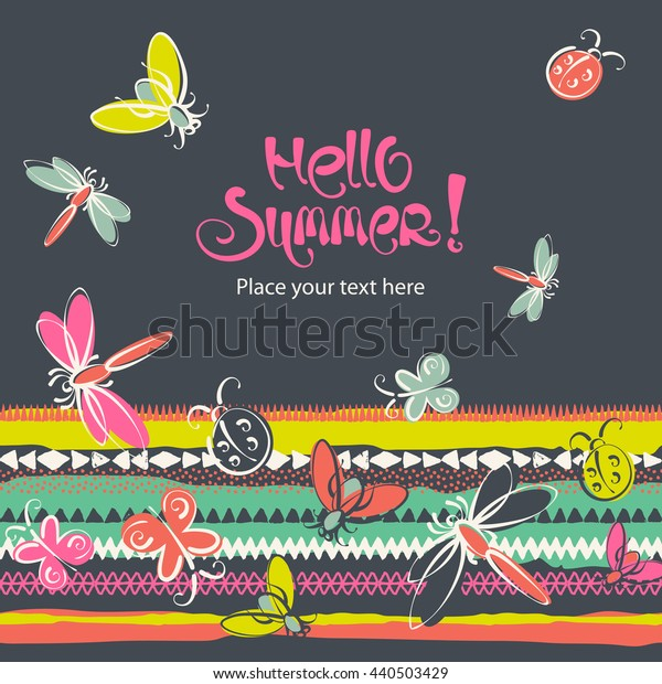 Abstract insects summer folk vector background