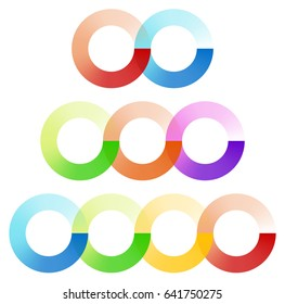 Abstract interlocking circles element set with 3 variation (2, 3 and 4 circle)