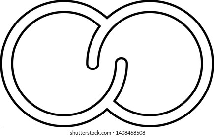 Abstract сonnection. Interlocking circles. Integration concept. Vector outline icon isolated on white background.