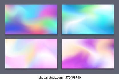 Abstract iridescent backgrounds set rectangular composition