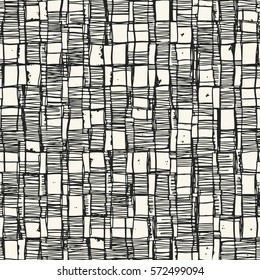 Abstract irregular sketched block textured background. Seamless pattern.