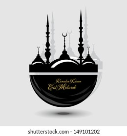 Abstract Islamic logo with shiny color in light grey color background.