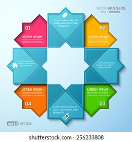 Abstract Islamic round infographic shape with arabesque elements
