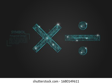 Abstract isolated blue image of a math signs. Polygonal illustration looks like stars in the blask night sky in spase or flying glass shards. Digital design for website, web, internet