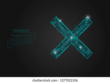Abstract isolated blue image of a multiply sign. Polygonal illustration looks like stars in the blask night sky in spase or flying glass shards. Digital design for website, web, internet