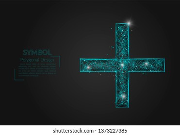 Abstract isolated blue image of a plus or cross sign. Polygonal illustration looks like stars in the blask night sky in spase or flying glass shards. Digital design for website, web, internet