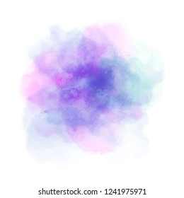 Abstract isolated colorful vector watercolor stain on white background. Grunge element for paper design. Watercolor background