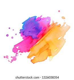 Abstract isolated colorful vector watercolor splash. Grunge element for paper design. Vector illustration