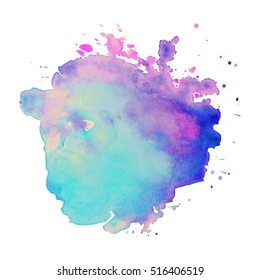 Abstract isolated colorful vector watercolor stain. Grunge element for paper design