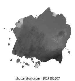 Abstract isolated grayscale vector watercolor stain. Grunge element for paper design. Vector illustration