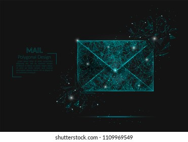 Abstract isolated image of a letter, mail or message. Polygonal illustration looks like stars in the blask night sky in spase or flying glass shards. Digital design for website, web, internet.