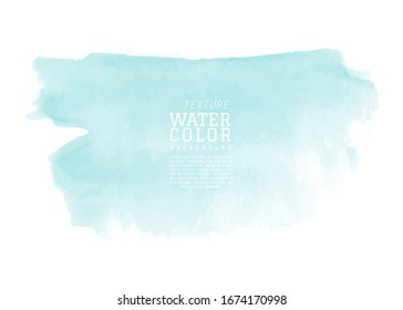 Abstract isolated mint watercolor splash. Stain artistic vector used as being an element in the decorative design of invitation, cards, cover or banner.