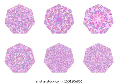 Abstract isolated mosaic pattern heptagon logo template collection - ornamental geometrical vector designs elementss on background