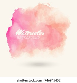 Abstract isolated red coral vector watercolor stain. Grunge element for paper design