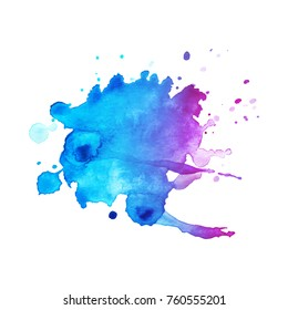 Abstract isolated watercolor hand drawn paper texture stain on white background for text design, web, label.