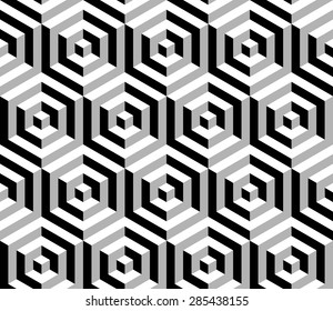 Abstract isometric 3d hexagonal shapes seamless pattern background. Ideal for fabric design, wrapping paper print and website backdrop. EPS10 vector file.