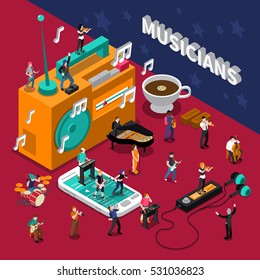 Abstract isometric composition with musicians people and music listening devices vector illustration