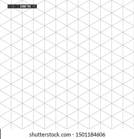 Abstract isometric grid vector seamless pattern. Black and white thin line triangles texture. Monochrome geometric mosaic minimalistic background. Plotting hexagonal, triangular ruler for drafting