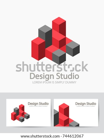 abstract isometric logotype dimensional 3 d shape stock vector